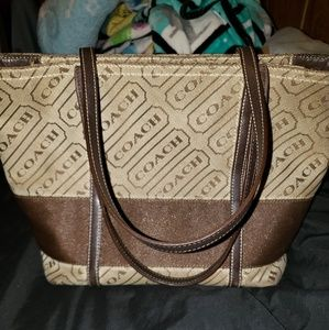 Coach Brown & Tan Logo Authentic Purse Tote Handba